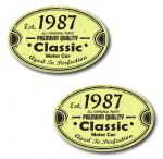 PAIR Distressed Aged Established 1987 Aged To Perfection Oval Design Vinyl Car Sticker 70x45mm Each